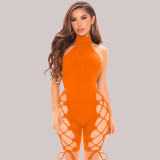 Fashion Sexy Solid Color Tie Up Backless Slim Fit Rompers MEI-9168