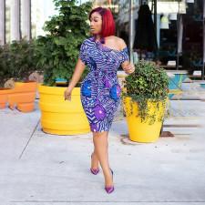 Sexy Off Shoulder Short Sleeve Print Dress YAOF-8007