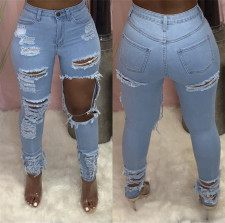 Plus Size Fashion Ripped Hole Slim-fit Jeans  LSL-6423