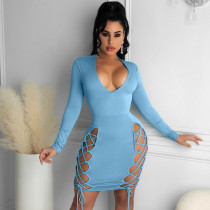 Solid Color Long Sleeve Tie Up Sexy Mini Dress KSN-8076