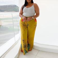 Plus Size Casual Printed Wide Leg Pants CYA-1450