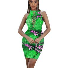 Fashion Sexy Print Sleeveless Cutout Mini Dress XSF-6038