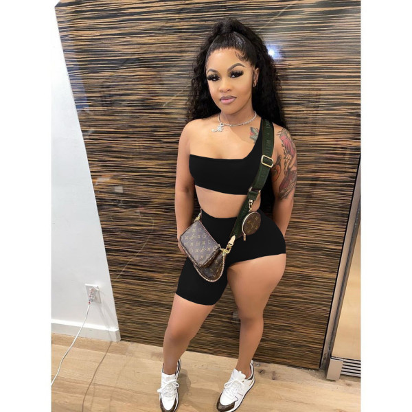 Fashion Casual Solid Color One-shoulder Camisole Irregular Shorts Two Piece Sets FSL-143