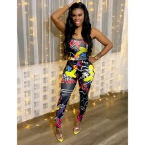 Sexy Printed Strappy Backless Jumpsuit XMF-053