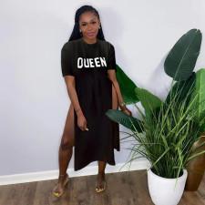 QUEEN Letter Print High Split Short Sleeve T Shirt Dress QZX-6200