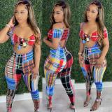 Plaid Print Crop Top suspender Pants 2 Piece Sets OLYF-6048