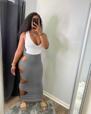 Solid Color Hole Sexy Bag Hip Long Skirt AWN-5203