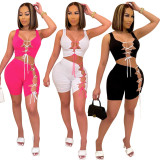 Sexy Solid Lace Up Sleeveless 2 Piece Sets YYF-6585