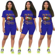Plus Size 4XL Lips Letter Print Two Piece Shorts Set FSL-090