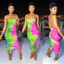 Tie Dye Print Cross Strap Backless Slim Midi Dress BGN-BN058