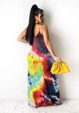 Tie Dye Print Sleeveless Strap Maxi Dress TR-907-1