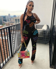 Letter Print Tank Top Stacked Pants Two Piece Sets QHF-8632