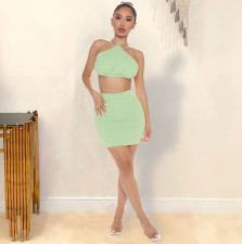 Sexy Solid Halter Crop Top Mini Skirt Two Piece Sets YIBF-6061