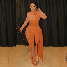 Sexy Mesh Crop Top And Pants Bandage Two Piece Sets SZF-9083