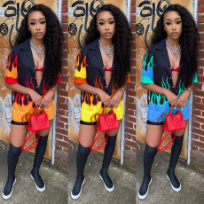 Flame Print Shirt Top And Shorts Two Piece Sets SZF-9077