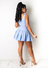 Solid Color Sleeveless Pleated Mini Skirt Two Piece Sets LSD-9121