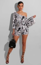Newspaper Print Off Shoulder Two Piece Shorts Set AIBF-6618