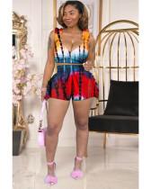 Sexy Printed Ruffled Sleeveless 2 Piece Short Sets MDF-5252
