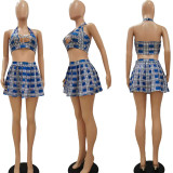 Sexy Plaid Halter Top Pleated Mini Skirt 2 Piece Sets NYF-8053