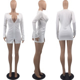 Sexy Ribbed Long Sleeve White Mini Dress OXF-8058