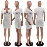 LUCKY LABEL Letter Embroidery Bodycon Mini Dress AMLF-2139