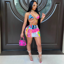 Sexy Printed Strappy Bra Top Mini Skirt 2 Piece Sets AWF-5855