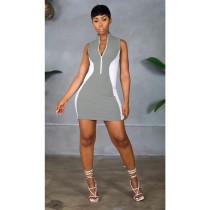 Contrast Color Sleeveless Zipper Mini Dress YIY-5279