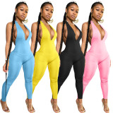 Sexy Solid Backless Halter Jumpsuit BLX-7515