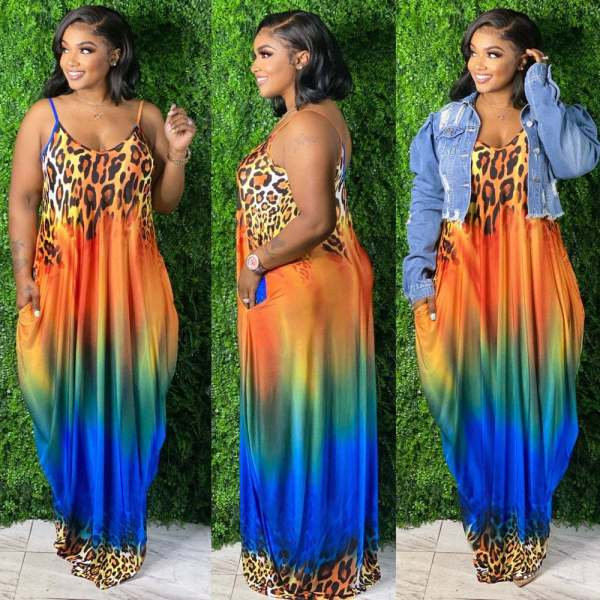 Plus Size Gradient Leopard Loose Pocket Slip Maxi Dress KYF-3063