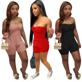Solid Split Tube Top And Shorts 2 Piece Sets HHF-9079