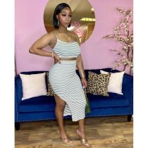 Sexy Striped Cami Top Split Skirt Two Piece Sets AWF-5860