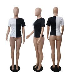 Contrast Color Short Sleeve O Neck T Shirt AWF-5867