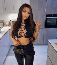 Black Sexy Lace Up Sleeveless Tops WSYF-5836