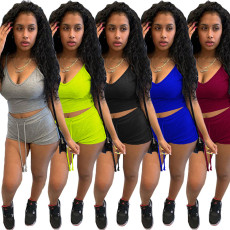 Solid Cami Top And Shorts Two Piece Sets WSYF-5858