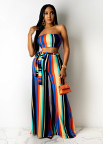 Colorful Striped Tube Top Sashes Wide Leg Pant Sets SXF-3111