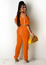 Solid Slash Neck Short Sleeve Two Piece Pant Sets TR-1137