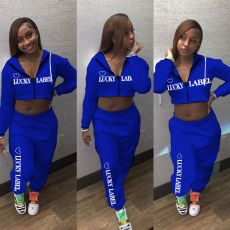 LUCKY LABEL Letter Print Hooded Two Piece Sets ALSF-8022