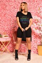 Letter Print Split T Shirt+Shorts Two Piece Suits ZNF-9061