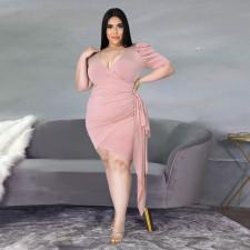 Plus Size Sexy V Neck Puff Sleeve Mini Dress YH-002