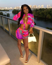 Sexy Printed Long Sleeve Two Piece Short Sets ALSF-8055