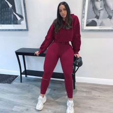 Sports Casual Solid Color Hoodie And Pants Two Piece Set NSFF-8003