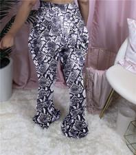 Snake Skin Print Mid-Waist Skinny Flare Pants WSM-2004