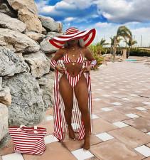 Sexy Stripe Print Beach Swimsuit Three-piece  MEM-1620