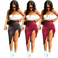 Sexy Plus Size  Ruched Irregular Long Skirt BLI-2272