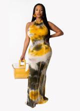 Sexy Tie Dye Print Sleeveless Long Maxi Dress WAF-5018