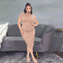 Plus Size Solid Short Sleeve Ruched Midi Dress YH-003