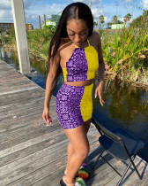 Contrast Color Printed Backless Mini Skirt 2 Piece Sets WZ-8374