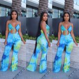 Sexy Printed Halter Backless Flared Jumpsuits LSL-6359