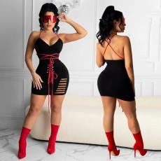 Sexy Lace Up Backless Hollow Mini Dress YAOF-8025