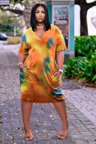 Plus Size Tie Dye V Neck Pocket Loose Midi Dress TK-6171